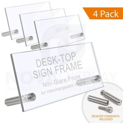 Desktop Acrylic Sign Frame. Set of 1/8″ Clear & 1/8″ Non-Glare Acrylic Blanks with Laser-Cut Polished Edges