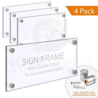 Wall Mounted Acrylic Sign Frame. Set of 1/8″ Clear & 1/8″ Non-Glare Acrylic Blanks with Laser-Cut Polished Edges