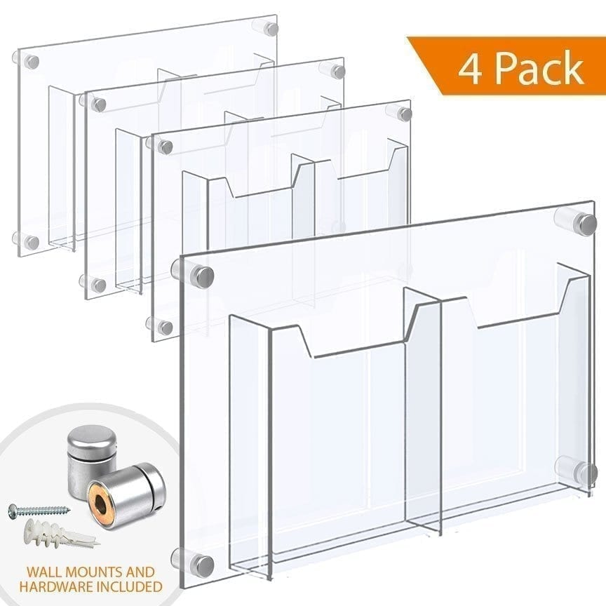 "WALL MOUNTED ACRYLIC LEAFLET DISPENSER – DOUBLE POCKET (with 1/4″ base). Insert Size: 8.5""W x 11""H Letter / QTY 4"
