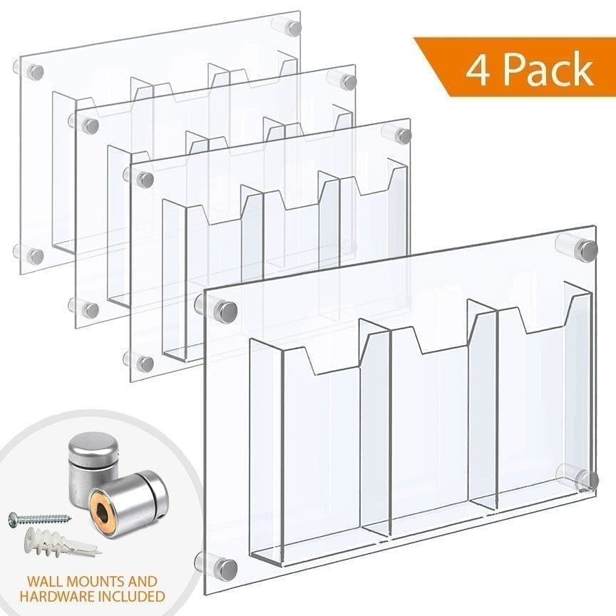 "WALL MOUNTED ACRYLIC LEAFLET DISPENSER – TREBLE POCKET (with 1/4″ base). Insert Size: 3.5""W x 8.5""H Tri-Fold / QTY 4"