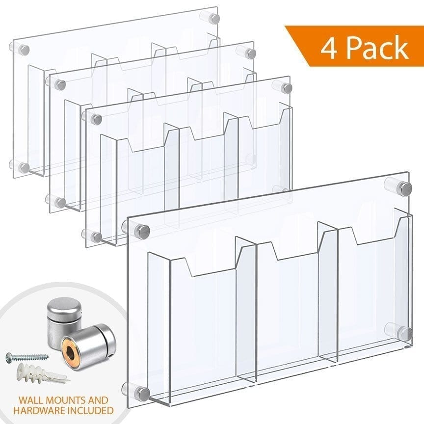 "WALL MOUNTED ACRYLIC LEAFLET DISPENSER – TREBLE POCKET (with 1/4″ base). Insert Size: 5.5""W x 8.5""H Bi-Fold / QTY 4"