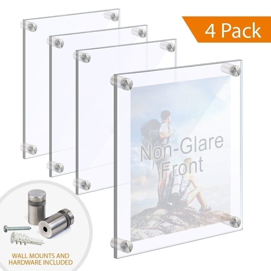 ACRYLIC PHOTO FRAMES WITH STANDOFFS – CLEAR & NON-GLARE ACRYLIC SET / QTY 4