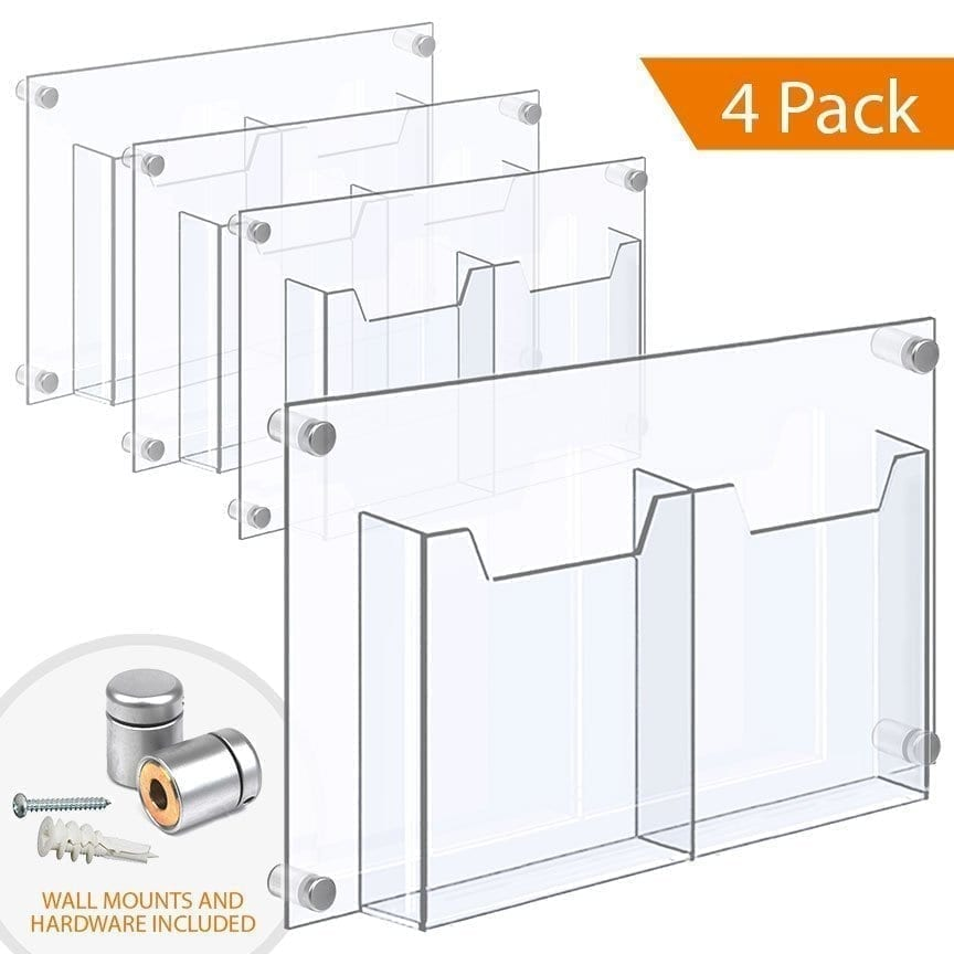 "WALL MOUNTED ACRYLIC LEAFLET DISPENSER – DOUBLE POCKET / FOLDED. Insert Size: 8.5""W x 11""H Letter / QTY 4"