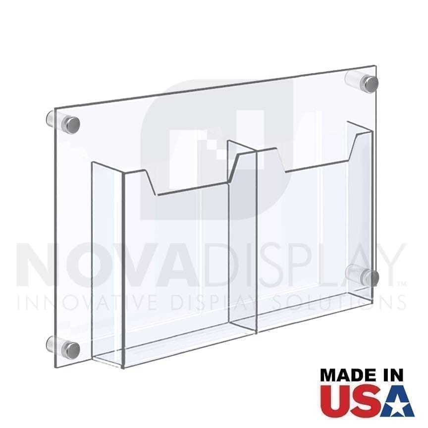 """WALL MOUNTED ACRYLIC LEAFLET DISPENSER – DOUBLE POCKET / FOLDED. Insert Size: 8.5""""W x 11""""H Letter / QTY 4"""