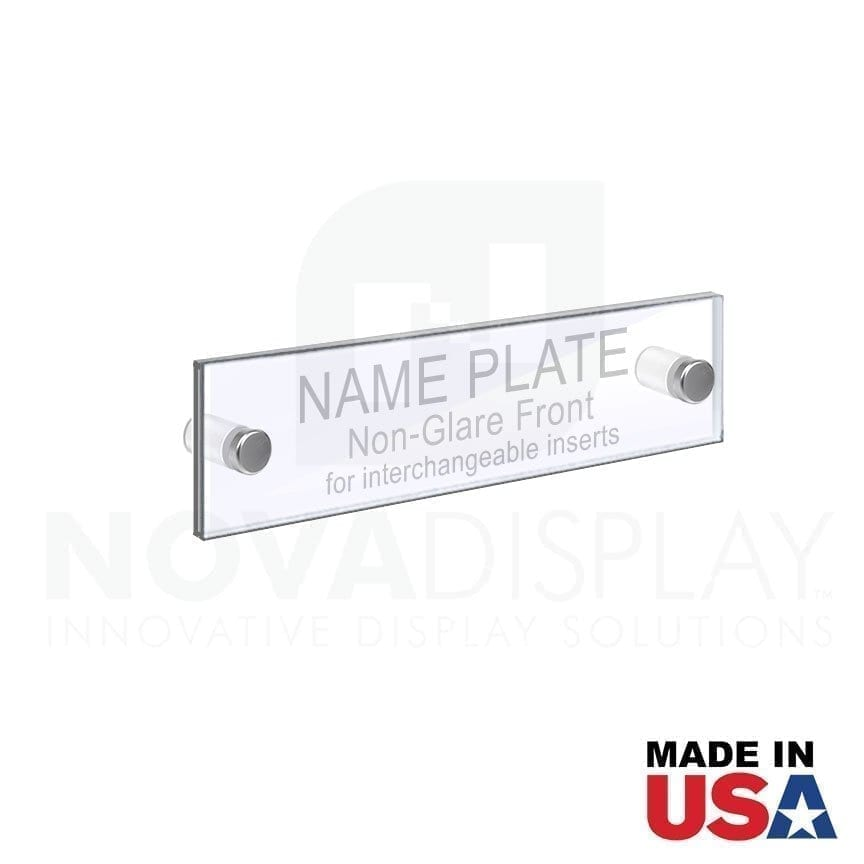 ACRYLIC DOOR NAME PLATE –CLEAR & NON-GLARE ACRYLIC SET / QTY 4