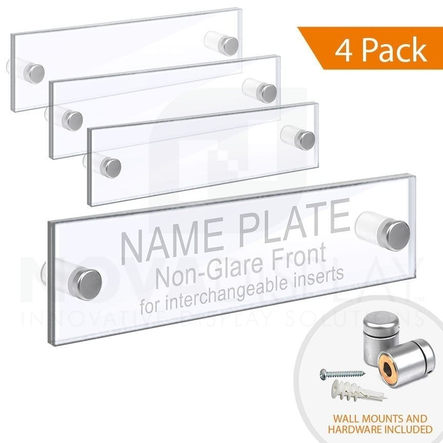 ACRYLIC DOOR NAME PLATE – CLEAR & NON-GLARE ACRYLIC SET / QTY 4