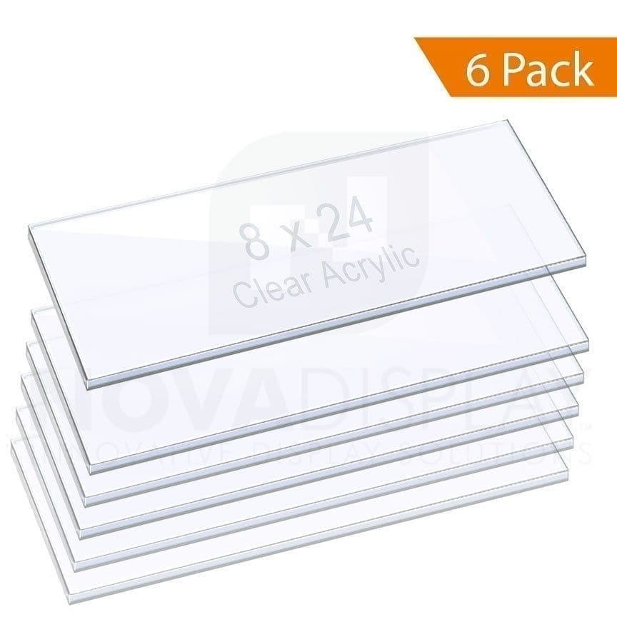 "3/8"" (10mm) ACRYLIC SHELF – CLEAR. Size: 8""x24"" / QTY 6"