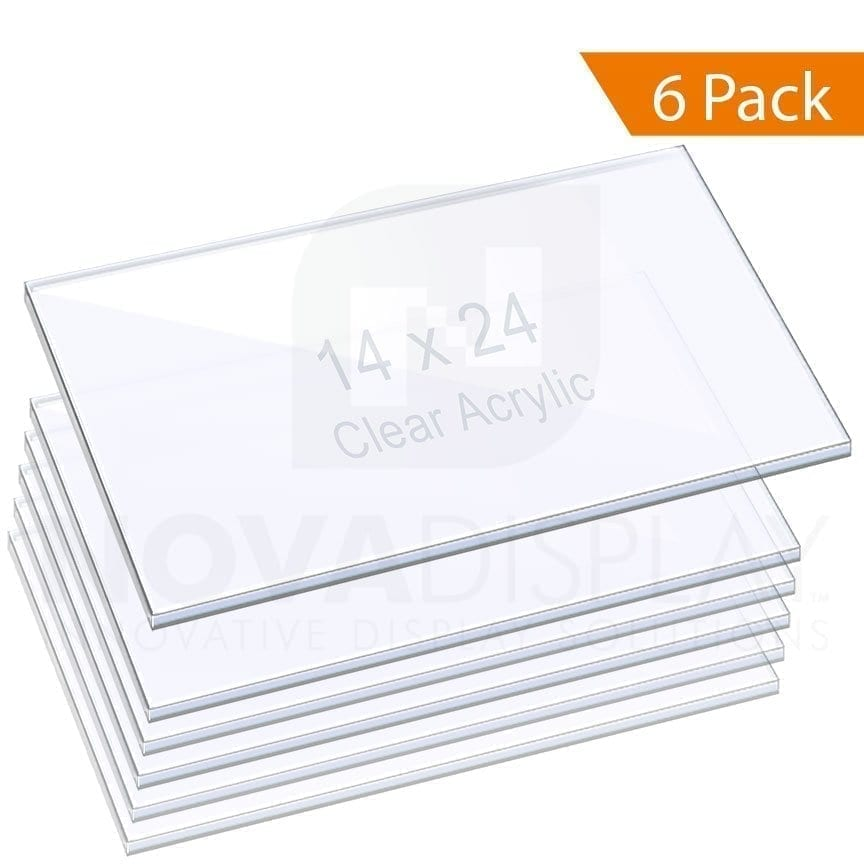 "3/8"" (10mm) ACRYLIC SHELF – CLEAR. Size: 14""x24"" / QTY 6"
